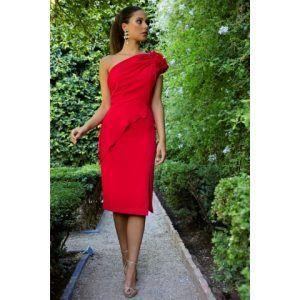 vestido fiesta corto rojo crep