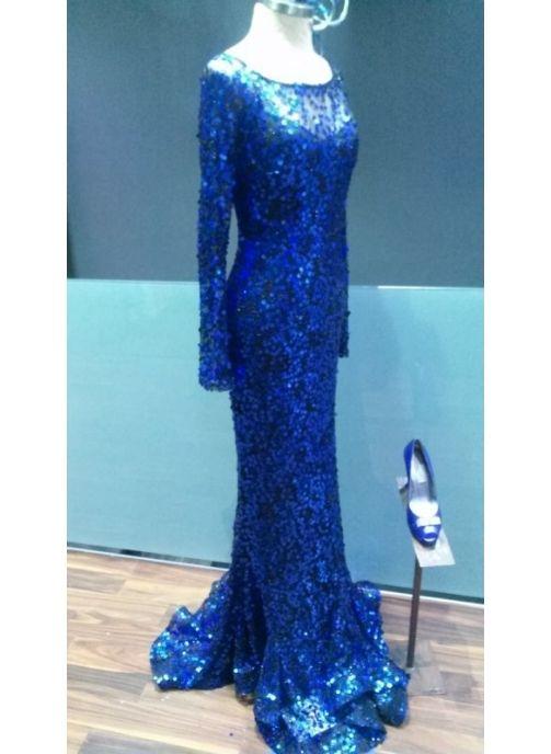 vestido fiesta largo lentejuelas azul