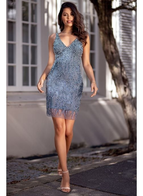 vestido de fiesta con pedreria color indigo