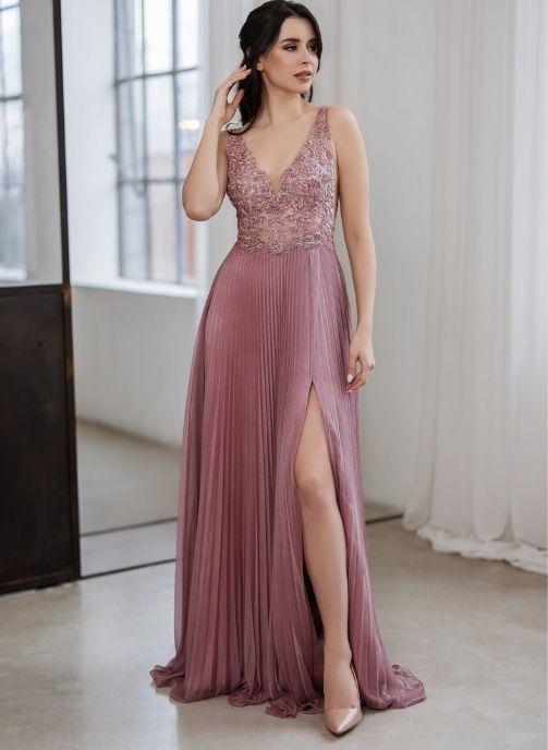 vestido fiesta rosa nude encaje y falda plisada 1
