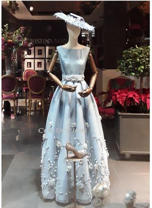 vestido largo de fiesta tul bordado azul cielo pilukafashion