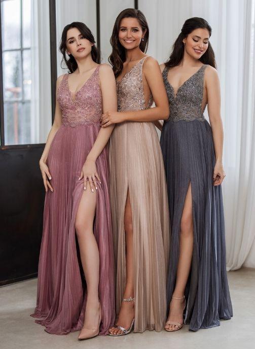 vestidos de fiesta plisados