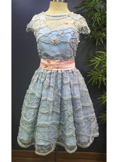 vestido fiesta azul tul bordado con rosa pilukafashion