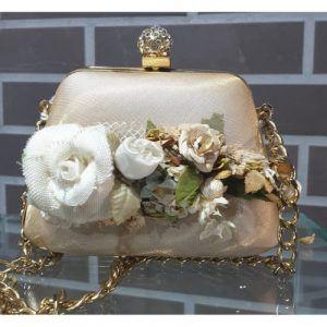 bolso bombonera beige flores