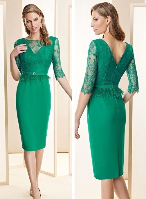 vestidos de fiesta corto verde coleccion pret a porter mama