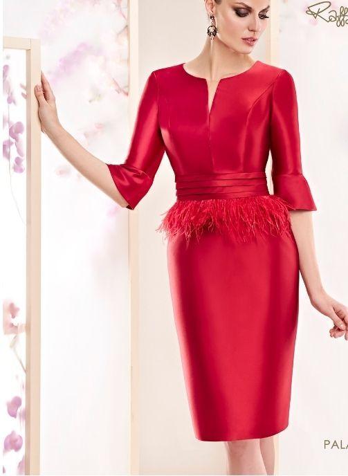 vestidos de fiesta rojo con plumas corto coleccion pret a porter
