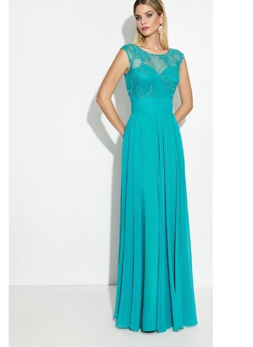 vestidos de fiesta turquesa gasa pret a porter