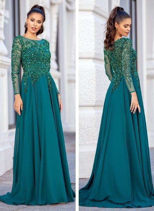 vestidos de fiesta verde con pedreria y gasa coleccion pret a porter
