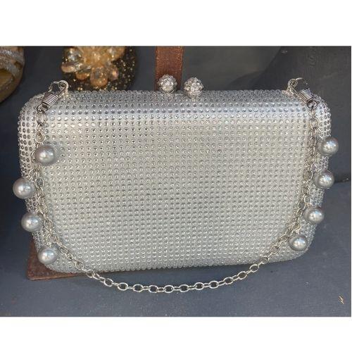 bolsos fiesta plata con piedras cristal