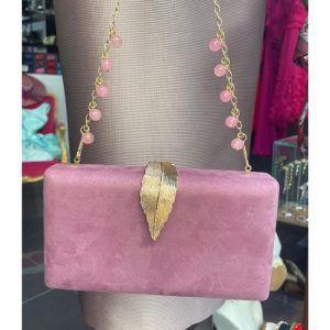 bolsos fiesta rosa malva con dorado