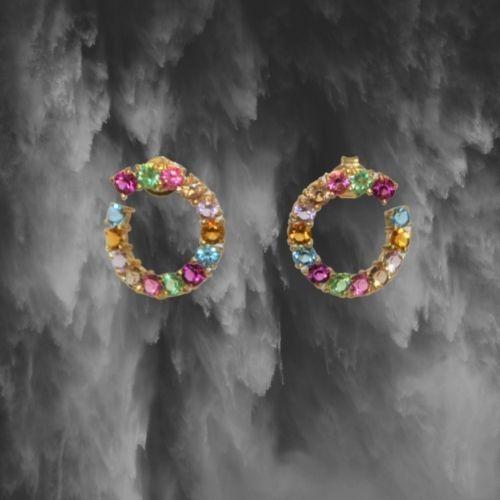 pendientes fiesta dorados piedras multicolor