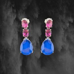 pendientes plata de ley y piedras azul y rosa para fiesta pilukafashion