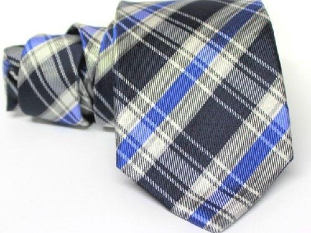 corbata cuadros azul y gris