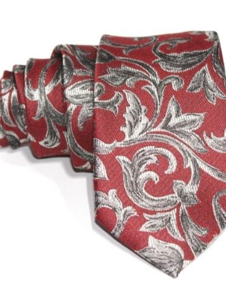 corbata roja estampado gris